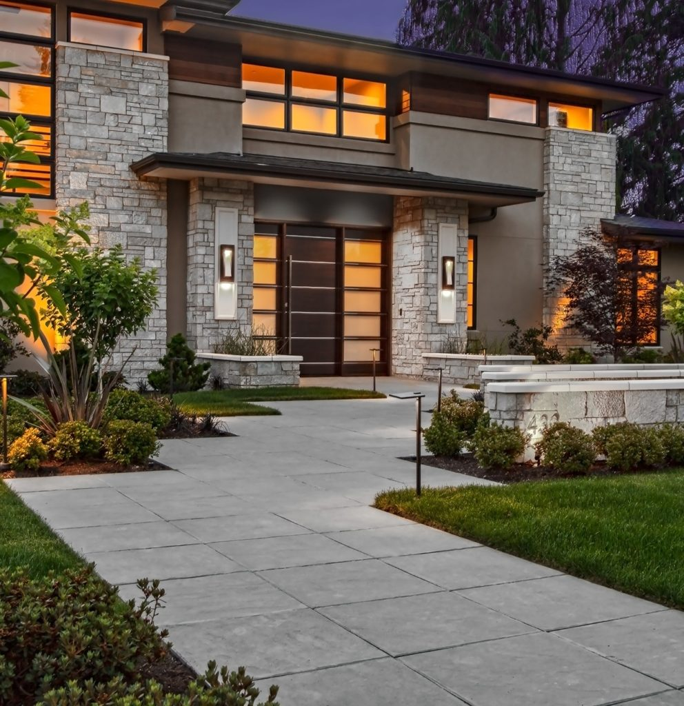 Medina Heights Custom Home Front Entry Pathway